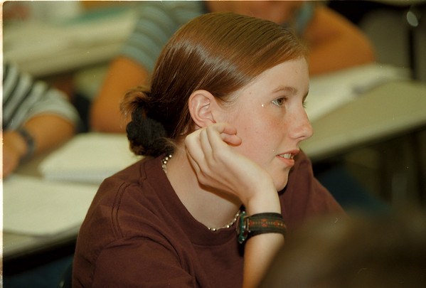 98/09/09 Academic Standards - James Neiss Photo - Julianne Payne 13yrs/9th grade listens intently during French Class at LaSalle High.