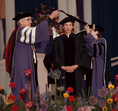 98/05/17 NU Graduation 3 - James Neiss Photo - Actress Christine Baranski was all smiles as she received an honorary Doctor of Fine Arts degree during Niagara Universities undergraduate Commencement. L-R University president Rev. Paul L. Golden and Mistress of Ceremonies Susan E. Mason, Ph.D presided her with the honor.