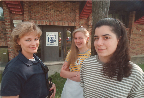 6/11/97 PAL Awards - James Neiss Photo - L-R - Niagara Falls Police Athletic League Award Recipients Officer Angela Dobrasz, Katie Crocker 15yrs of 76th, Kate Majka 17 of Maple Ave.