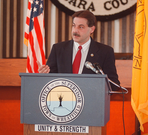 5/22/97 Wheatfield Meeting - James Neiss Photo - Town of Wheatfield Supervisor Timothy E. Demler talks about the formation of a joint coalition to bring in  business to the county.