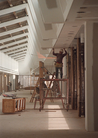 4/18/97 Buff Niag Airport 2 - James Neiss photo - Construction is full swing on the terminals in the new Buffalo Niagara International Airport. Don Louks a Carpenter from Angola, NY works on terminal.