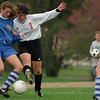 98/10/08 Lyndon vs Oak2-Rachel naber Photo-Melissa Phelps of Oakfield-Alabama struggles for control opf the ball against Megan Hughes of Lyndonville.