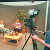 7/22/97--LOCKPORT TV--DAN CAPPELLAZZO PHOTO--LOCKPORT PUBLIC TV PROGRAM COOR. JUDY NAYLOR SITS ON SET WITH 14-YR-OLD VANESSA SCHMIDT AS 15-YR-OLD ALEX RANALDI OPERATES THE CAMERA  FOR THE SUMMER YOUTH TV PROGRAM.<br /> <br /> TEEN