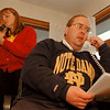 11/4/97 -- John Batt --Takaaki Iwabu photo-- John Batt makes phone calls with his wife Carol Batt as he makes a final effort on his campaign for Family Court Judge Tuesday evening  at his home. <br /> <br /> local, Wednesday, bw