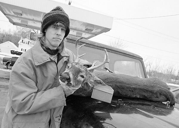 97/11/17--DEER SEASON--DAN CAPPELLAZZO PHOTO--DEER HUNTER BEAU WATERBURY, OF NEWFANE, SHOWS OFF THE 6 PT. DEER HE SHOT IN BARKER. IT'S WATERBRUY'S FIRST DEER.  HOME PHONE-778-7865.<br /> <br /> SP