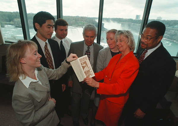 5/15/96 Foreign Tour Opperators - James Neiss Photo - Foreign Tour Opperators met in the Falls for tour and disscussion.... See Don Glynn..... L-R are, Pernilla Frisk of Kuoni Travel, Inc. NYC, Kenro Matsuki of Mac America Travel, Inc., Stan Rydelek, VP NF Convention & Visitors Bureau, Alvaro Pena, Sr of Pamtours international, Ina Henderson of New World Travel, Eileen Pierce of Tourco and Markly Wilson, Marketing Specialist division of Tourism, NYS DPT of Economic Development.