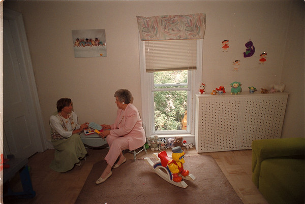 7/1/97 Visitation Program - James Neiss Photo - Lynn Shaftic-Averill, Executive Director of the YWCA and Elsie Stryker, Volunteer and Boardmember, talk about the Family Visitation Program at the YWCA of the Tonawandas.