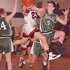 2/22/97-- falcons 2-- Takaaki Iwabu photo-- N-W Angela Tylec gets double coverage from .................. throughout the game. Defending her is ..................... (34) and ........................ (5). <br /> <br /> bw