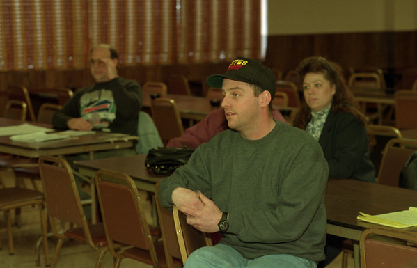 98/01/24 Concerned Citizen *Dennis Stierer photo - Thomas Lupo listens during the conerned citizens meeting held at the Eagles Lodge in Lockport on Saturday.
