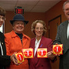 98/10/08 Fire Prevention-Grace Denniston, Marcia Tuohey, Carri Blake, and Richard Clark dispaly the hanicap rescue stickers now available to Orleans county residents.