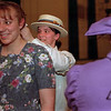 """98/04/20-- rehearsal 2--Takaaki Iwabu photo-- Ketie Navarra, left, and Marcia Capurso prepare for the rehearsal of the play """"Hello Dolly"""" at Albion Middle School Auditorium Monday. The play starts 23rd. <br /> <br /> Medina, color"""