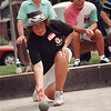 98/08/09 italian fest1-Rachel naber Photo-Marie Esposito of Niagara Falls competes in the Bocce ball tournament at the Italian Festival. Eight teams from Niagara Falls and tw teams from Lockport competed in the tournament.