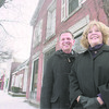 1/7/96-- lewiston business--Takaaki Iwabu photo-- Lewiston' Mayor ........... Soluri and Margaret M. Toohey, past president of Greater Lewiston Business and Professional Assocation, stand on the Center St. in Lewiston. (photo for story about the pro-business atmosphere in Lewiston. <br /> <br /> tmc photo