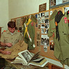 "98/02/03 Troop 6 - 75thAnnv.*Dennis Stierer - Troop 6 of the Boy Scouts of America is celebrating 75 years of continuous service tothe community with the theme: ""75 Years of Character Building"". The troop, sponsored by Emmanuel United Methodist Church for its entire existence, will participate in the Scouting Ministries Sunday observance at that church. Looking over a history display of Troop 6 memoriabilia is Dave Rau and Steve Dockery, both Asst. Scout Masters.  Lynn Durkee, the present Scoutmaster of Troop 6, prepared the display."