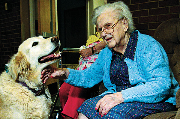 98/05/22 Alternative Age 2-Rachel Naber Photo-Luella Gillman petsTravler the resident dog at the Orleans County nursing home.