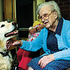 98/05/22 Alternative Age 2-Rachel Naber Photo-Luella Gillman petsTravler the resident dog at the Orleans County nursing home.