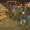 3/14/97 gazebo --Takaaki Iwabu photo-- Instructor John Caswell, right, poses with his students at Board of Cooperative Educational Services, who made the gazebo for the upcoming Home Show at Summit Park Mall. <br /> <br /> tmc photo