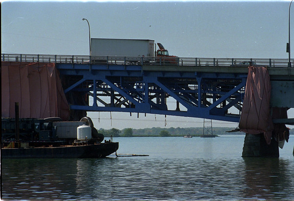 97/10/06 Blue Bridge - James Neiss Photo - The North, Northbound Grand Island bridge was looking a little blue on a newly painted section of the bridge.