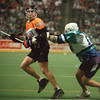 4/12/97-- The Bandits 1--Takaaki Iwabu photo-- The Bandits #43.................. keeps a ball away from Rochester defense #16................... .<br /> <br /> sports, Sunday