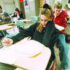 1/21/97 School Reportcard 3 - James Neiss Photo - Alexis Korpolinski 16/11th works on a health test at NFHS Niagara Falls High School.