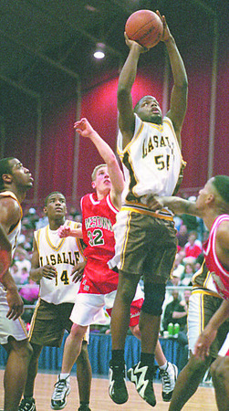 2/28/96--LaSalle basket--Takaaki Iwabu photo--Gayle in action against Jamestown.