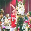2/28/96--LaSalle basket--Takaaki Iwabu photo--Gayle in action against Jamestown.
