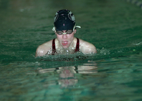 98/02/12   100 Breaststroke *Dennis Stierer photo - Kristen Knipe from Starpoint during the 100 meter breaststoke. Taken at the 12th annual Niagara-Orleans Girls Individual Swimming Championship.