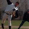 4/10/97-- NU baseball-- Takaaki Iwabu photo-- Niagara University Joe Hill came for a relief Thursday's game agaist Fredonia St. <br /> <br /> sports, Friday, bw