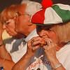 8/1/97 Italian Experience 1--Takaaki Iwabu photo-- Josi Fera sports Italian cap as she enjoys a meatball sub at The Italian Experience at E. Dent Lackey Plaza Saturday. <br /> <br /> Sunday, local, color