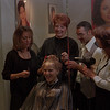 98/10/08 CUTTING FOR CANCER--DAN CAPPELLAZZO PHOT0--THE STAFF AT  RGIS HAIR SALON, LKPT MALL (LTOR)APRIL LINSLEY, JEN BARRETT, JOSEPH LaGRECA AND SANDY WAGNER WORK ON THE HAIR OF HEATHER RINEHART IN PRPERATION FOR THE OCT 17. $10 CUTS FOR BREAST CANCER.<br /> <br /> LKP