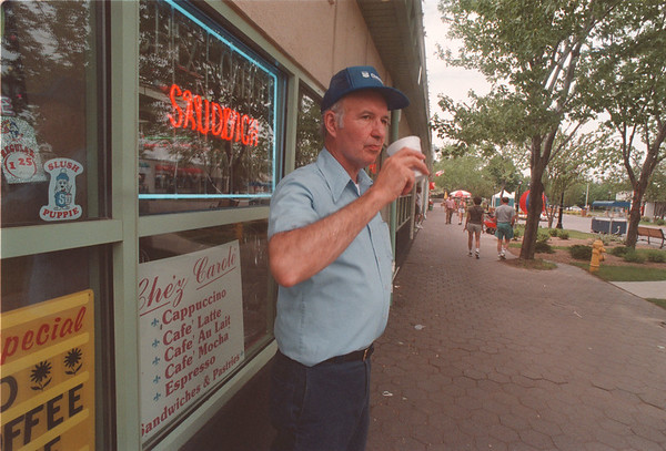 6/16/97 Chez Carole - James Neiss Photo - Garry Deutschlander, Co-owner of Chez Carole, is disappointed that they are not allowed to put tables out on the empty sidewalk along Old Falls Street for there patrons.