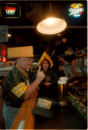 98/01/23 Packers Fans - James Neiss Photo - Green Bay Packers Fans L-R - Gerald Fitzgerald and Lisa Spoljaric, both of Lockport, are prepared for this Sundays Superbowl. They are waiting at Finnan's in Lockport for the event to start.<br /> <br /> Another Paul Stephens Set up shot.