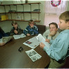 "97/11/21 School Gazette - James Neiss Photo - Wyndam Lawn Home students submit articales from their ""Wyndham Lawn Campus School Gazette"". L-R are: Cynthia R. 14/7th, Matt S. 13/8th, Sue Schleef, Campus School Teacher And Wyndham Lawn Campus School Gazette Advisor, Jon W. 14/8 and Lewis W. 13/7 who was reading the artical he submitted."
