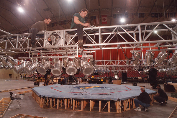 2/6/97 Ultimate Fighting - James Neiss Photo - Stage Hands get the ring ready for Ultimate Fighting at the Niagara Falls Convention Center. The fight was cancled later in the day.