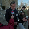 98/02/09 Matt Murphy 2 - James Neiss Photo - Niagara County District Attorney Mathew Murphy talked to reporters outside the county building today, about the defendant in the Niagara Falls school fight and death.