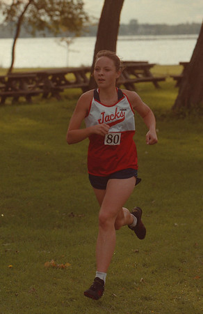 97/09/30 Cross Country - James Neiss Photo - Kelly Frys 16yrs/12th grade won the womanÕs cross country meet match with a time of 20.54 for North Tonawanda HS.