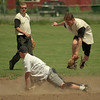 98/06/05 I Made It *Dennis Stierer Photo - Jeff Barone of Joe Speer Plumbing slides safely into second as Matt Massaro of Blind Melons has to jump to keep from being slid on. Kevin Nadrowski of Blind Melons watches the play in the background.
