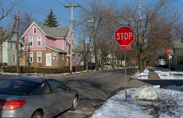98/03/16 Steven's Street *Dennis Stierer photo - This is a photo of Stevens Street looking East showing the stop signs which is an ALL WAY Stop.