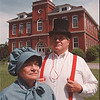 6/23/97 Red Brick Reunion - James Neiss Photo - Promo for  reunion - Lewiston Red Brick School Reunion committee Chairman Elizabeth Myers and Committee member Alan Johnson stand outside of the historic landmark building in Lewiston.