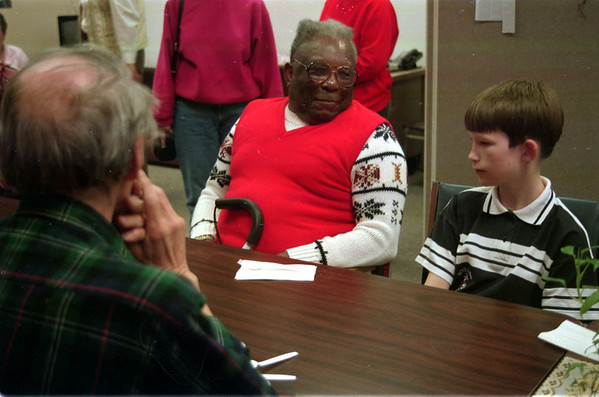 98/04/24 Pen Pals-Joseph Tanner (left), a senior at HANCI adult day care in Lockport and Wesley Roberts, a student from Anna Merritt are pen pals that got a chance to meet for the first time talk and have lunch.