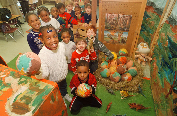 2/13/97 Dinosaur Eggs - Allegra Bradberry 4 and Shawn Morris 5 show off some of the Dinosaur Eggs they made with there  Head Start Pre-K class mates at the 24th Street School.