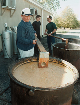 98/10/04 Chowder Sale *Dennis Stierer Photo -<br /> Steven Gerhardt, a volunteer fireman with Cambria Fire Department, stirs up some chicken chowder during Sundays chowder sale at the Cambria Fire Hall.