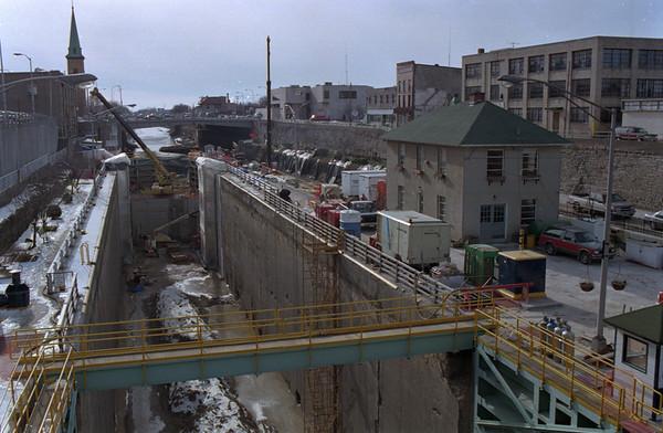 98/02/05 Lock Work *Dennis Stierer photo - Progression photo of work being done on locks. Taken Feb 5, 1998.