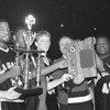 3/2/96--LaSalle 3--Tak photo--Six senior players and coach Pat Monti celebrate the victory. From left, Mike Onevelo, Rodriguez Gayle, Damien Watson, John Rhoat, Pat Monti, Mike Parmer and Tim Winn.