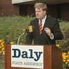 98/10/01 Rob Daly - James Neiss Photo - Rob Daly talks about his State Assembly platform during a news conference at NCCC.