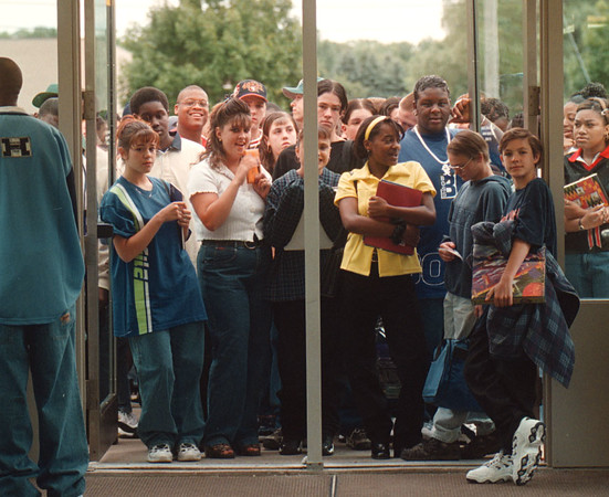 97/09/03 School Start  - James Neiss Photo - LaSalle HS students wait semi-patiently at the front door to be let in on the first day of school.