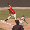 4/24/97 LewPort at NF 2 - James Neiss Photo - # 27 Mike Marrone of Naigara Falls High School Tried to take out LewPort # 4 Mike Kubik at Third Base with no success durring the 1st Inning.