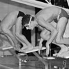 1/6/97--SWIMMING/B&W--(LTOR)--LASALLE'S TED NALBONE AND LEWPORTS JEREMY SCHUG LEAVE THE LINE HEADING FOR THE BREASTSTROKE.<br /> <br /> SP