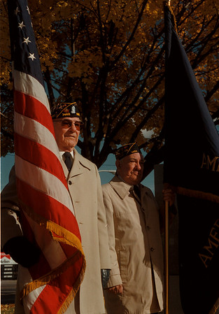 11/11/97-- veterans day--Takaaki Iwabu photo-- The World War II veterans Chet Stanish, left, and Steve Kaczynski, both from Portage Post 1465, stand still during the Veterans Day ceremony at Veterans Park on Main St. Tuesday. <br /> <br /> 1A, color, Tuesday