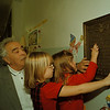 98/11/10 School Plaque - James Neiss Photo - L-R - John S. Villella, Retired history teacher and Korean War Vet, Samantha McElwain 6yrs/1st Grade and Emily Stoll 6/1. Lower Town Elementary School Has Plaque of local soldiers who gave their lives.